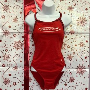 🔴 TYR Real Red Life Guard Swimsuit, Size 36